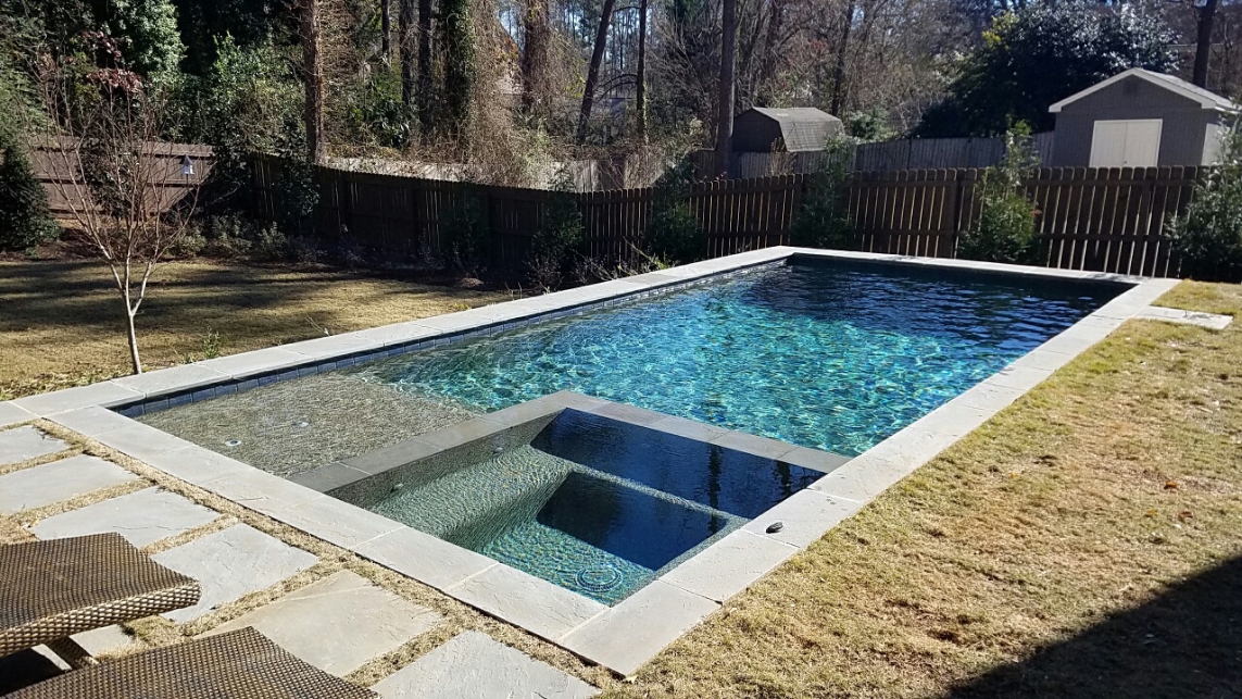 ap2a formal pool bluestone spa inside ntm1 - Rectangle Pool With Spa